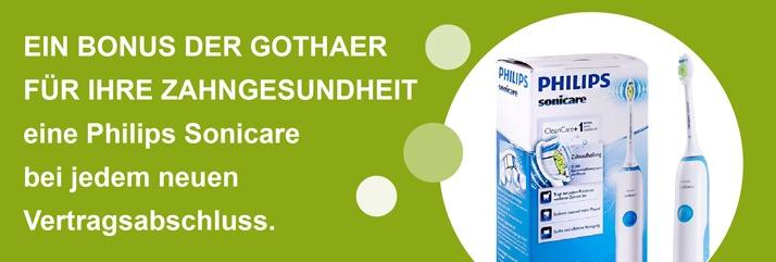 Ein Bonus der Gothaer für Ihre Zahngesundheit: Eine Philips Sonicare bei jedem neuen Vertragsabschluss.